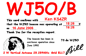 WJ5O Beacon QSL Card