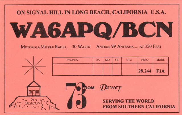 WA6APQ Beacon QSL Card